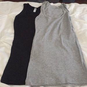American apparel long ribbed tank top medium set